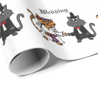 Funny Cats Bride and Groom wedding Art Wrapping Paper