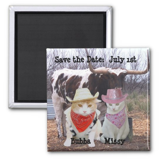 Funny Cats Cowboys Save the Date Square Magnet
