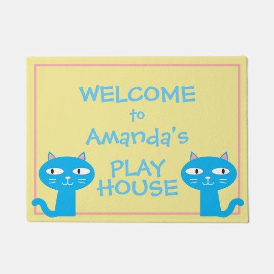 Funny Cats Girls Playhouse Welcome Doormat
