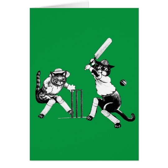 Funny Cats Playing Cricket Card