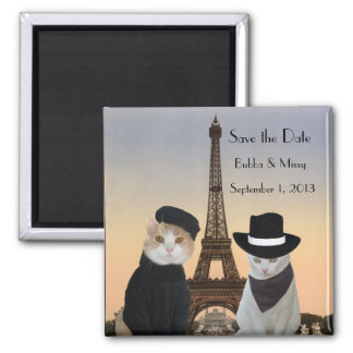 Funny Cats Save the Date Paris Wedding Square Magnet