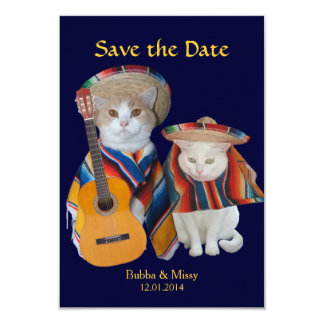Funny Cats South of the Border Wedding Save the Da 9 Cm X 13 Cm Invitation Card