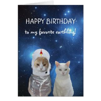 Funny Cats UFO Birthday Card