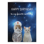 Funny Cats UFO Birthday Greeting Card