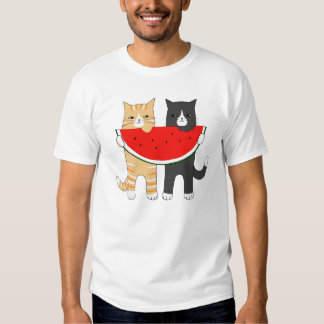 Funny Cats Watermelon Hipster Animal Graphic Tee