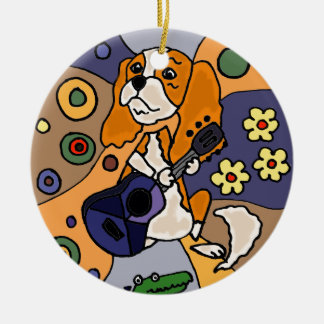 Funny Cavalier King Charles Spaniel Dog Abstract Round Ceramic Decoration