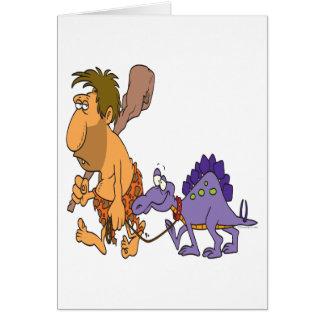 funny caveman and pet dinosaur greeting card