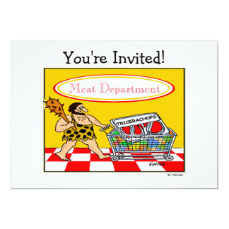 Funny Caveman Cartoon BBQ Meat Lover Cookout Party Card