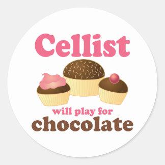 Funny Cello Chocolate Design Round Sticker