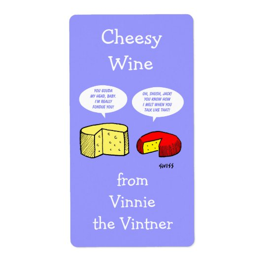 Funny Cheese Cartoon Personalised Wine Labels