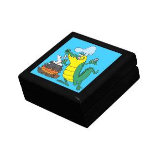 funny chef cooking gator alligator cartoon small square gift box