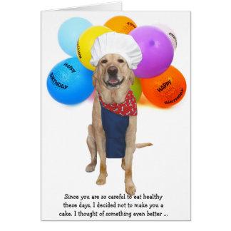 Funny Chef Dog Lab Birthday Greeting Card