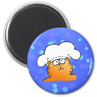 Funny Chef | Funny cartoon Kitty Chef 6 Cm Round Magnet