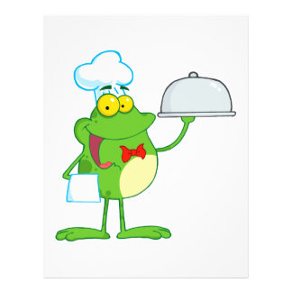 funny chef waiter froggy frog serving food 21.5 cm x 28 cm flyer