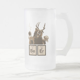 Funny chemistry bear discovered beer frosted glass beer mug