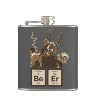 Funny chemistry bear discovered beer hip flask