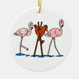 Funny Chicken and Flamingos Round Ceramic Decoration