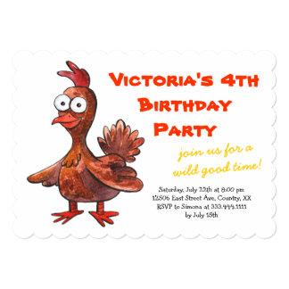 "Funny Chicken Birthday Party Invitation 5"" X 7"" Invitation Card"