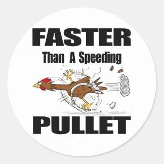 Funny chicken cartoon round sticker