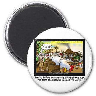 Funny Chicken (Chickasaurus) Tees Mugs Cards Etc 6 Cm Round Magnet