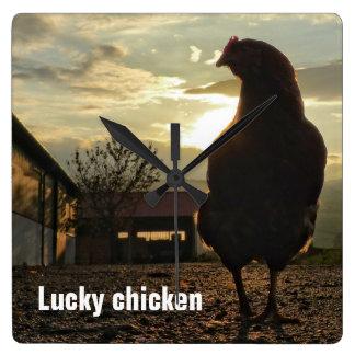Funny Chicken in backlight 01.2 Wallclock