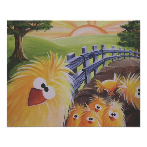 Funny Chicken Poster 16x20