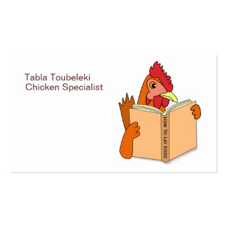 Funny Chicken Reading Book Cartoon Hen Business Card Template