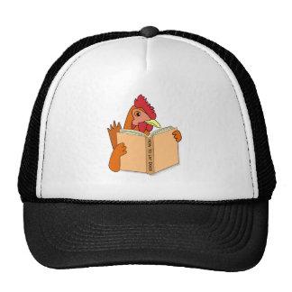 Funny Chicken Reading Book Cartoon Hen Hat