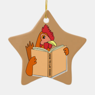Funny Chicken Reading Book Cartoon Hen Christmas Ornament