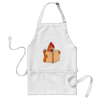 Funny Chicken Reading Book Cartoon Hen Standard Apron