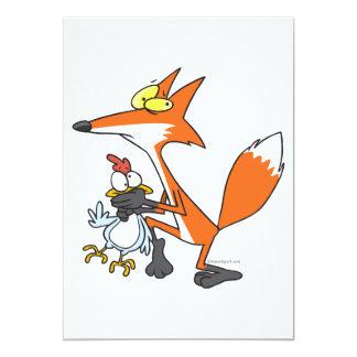 funny chicken stealing stealer fox 13 cm x 18 cm invitation card