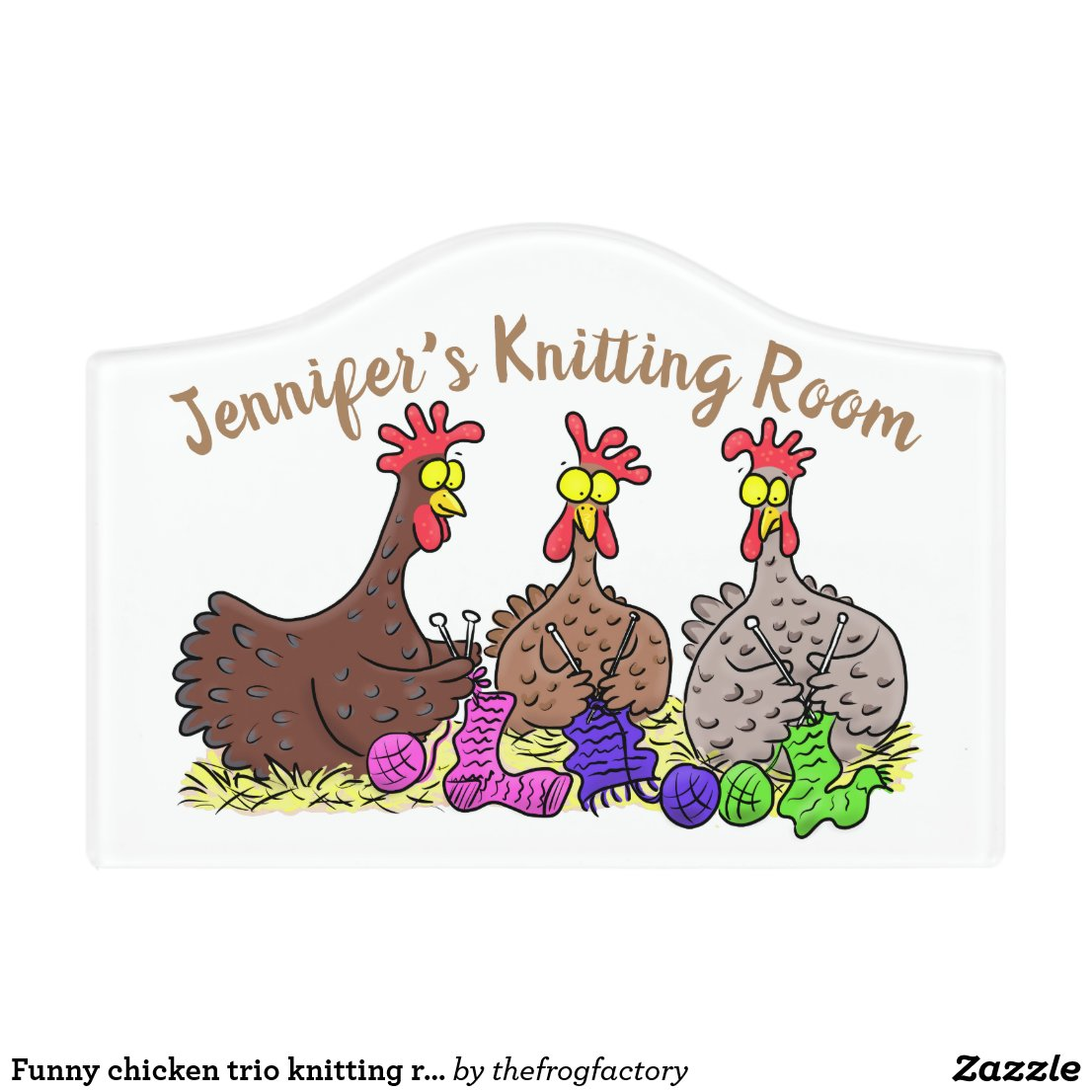 Funny chicken trio knitting room cartoon door sign