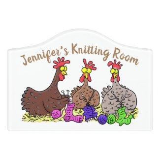 Funny chicken trio knitting room cartoon door sign