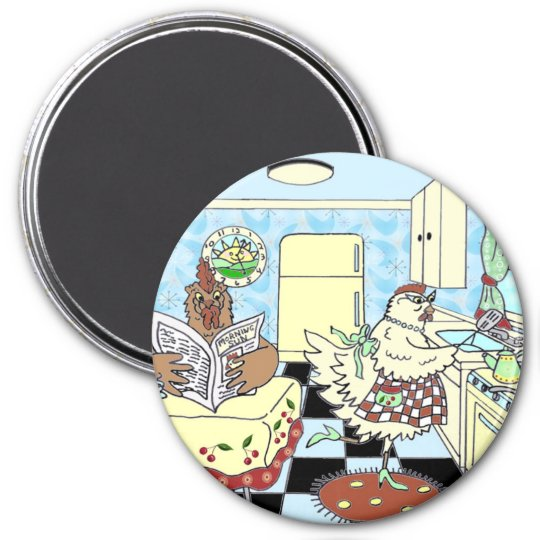 Funny chickens magnet