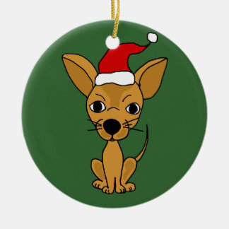Funny Chihuahua Dog in Santa Hat Christmas Ornament
