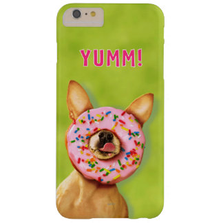 Funny Chihuahua Dog with Sprinkle Donut on Nose Barely There iPhone 6 Plus Case