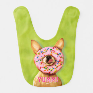 Funny Chihuahua Dog with Sprinkle Donut on Nose Bib