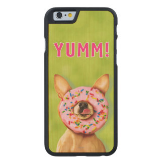 Funny Chihuahua Dog with Sprinkle Donut on Nose Carved Maple iPhone 6 Case