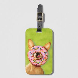 Funny Chihuahua Dog with Sprinkle Donut on Nose Luggage Tag