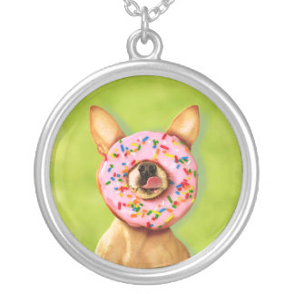 Funny Chihuahua Dog with Sprinkle Donut on Nose Silver Plated Necklace