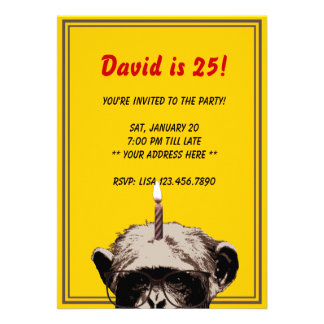 Funny Chimp Candle Birthday Party Invitation