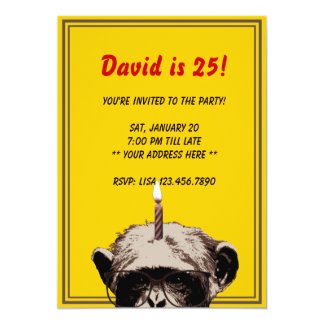 Funny Chimp & Candle Birthday Party Invitation