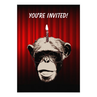 Funny Chimp in Glasses Birthday Party Invitation