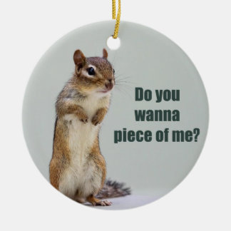 Funny Chipmunk Picture Christmas Ornament