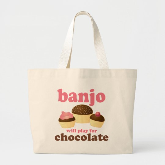 Funny Chocolate Banjo Music Gift Large Tote Bag