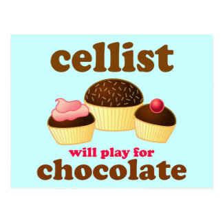Funny Chocolate Cello Postcard