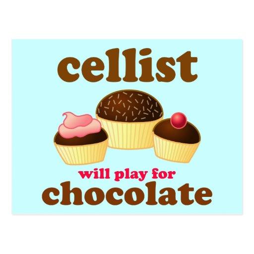 Funny Chocolate Cello Postcard