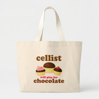 Funny Chocolate Cello Totebag Large Tote Bag