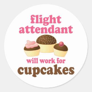 Funny Chocolate Cupcakes Flight Attendant Round Sticker