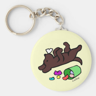 Funny Chocolate Labrador Cartoon Illustration Key Ring